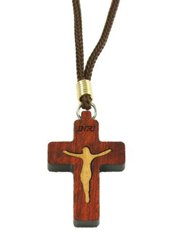 Two Tone Wood 1.5 Inch Small Cross Necklace - 14 Inch - Lot of 6