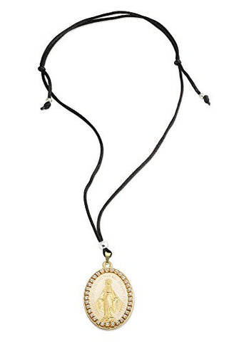 Gold Tone Oval Our Lady of Grace Miraculous Medal Pendant Necklace - 13 Inch