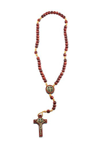 St Benedict Wood Beads Mini Rosary for Prayer, Rosarios Catolicos, Made in Brazil - 10 Inch