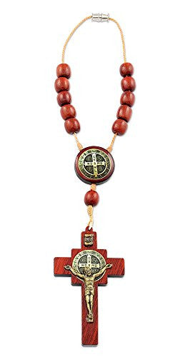 St Benedict Car Rearview Mirror Rosary One Decade Crucifix