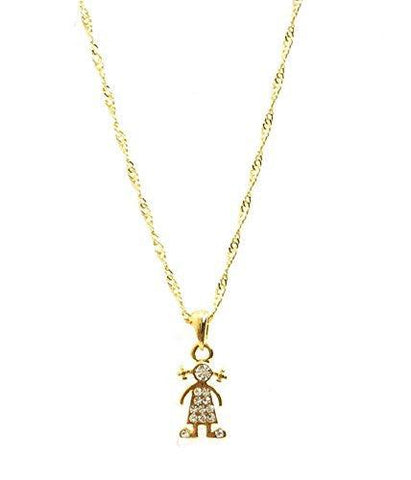 Little Miss Zirconia Gold Plated Pendant Necklace - 10 Inch