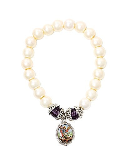 Saint Michael Medal Oval Pendant Bracelet with Glass Simulated Pearls Beads - 2.5 Inch.