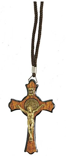 "Saint Benedict Gold Tone Wooden Cross Crucifix Pendant Rope Cord Necklace 1.77"" Cross"