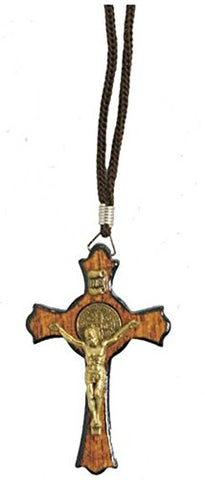 "Saint Benedict Gold Tone Wooden Cross Crucifix Pendant Rope Cord Necklace, 1.77"" Cross"