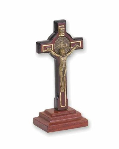 San Benito Saint Benedict Cherry Wood Standing Table Religious Cross with Crucifix, 2.8 Inch
