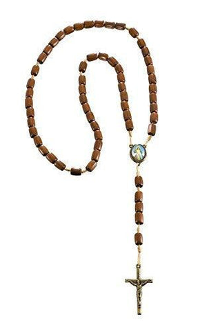Divine Mercy Wood Beads Rosary - 16.5 Inch. Made in Brazil.