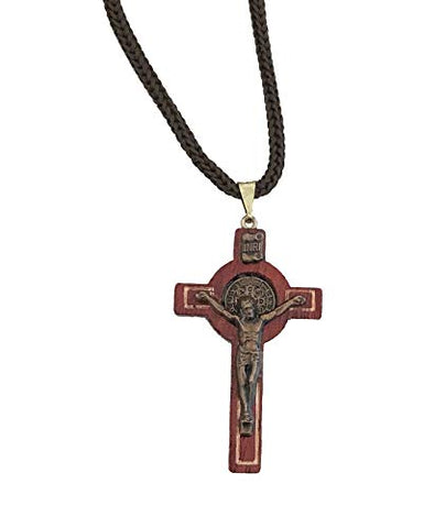Saint Benedict Cherry Wooden Crucifix Pendant Rope Cord Necklace with Gold Tone