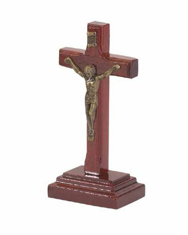 "4"" Cherry Wood Table Crucifix - Made in Brazil"
