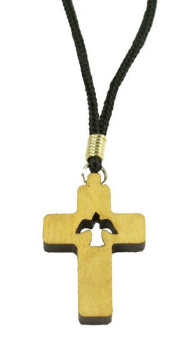 Lot of 6pcs. Wood Cross Pendant Necklace with Holy Spirit Dove Cutout Cross Pendant