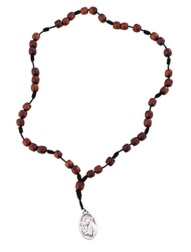 Saint Anthony Chaplet Rosary, Cherry Wood Beads and Medal, 9 Inch.