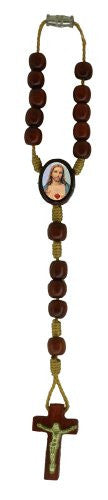 Sacred Heart of Jesus Car/Auto Rearview Mirror Wooden Beads Protection Rosary, Made in Brazil