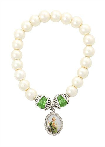 Saint Jude Medal Bracelet, Glass Simulated Pearls Beads