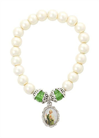 Catholic Bracelet - St Jude Medal with Glass Beads - 2.5 Inch