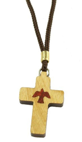Lot of 6 pcs. Holy Spirit Dove Medallion Wooden Cross Pendant Necklace