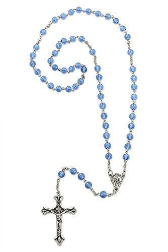 Light Blue Glass Beads Rosary Necklace Mary Silver Plated Medal with Cross Crucifix - 20 Inch
