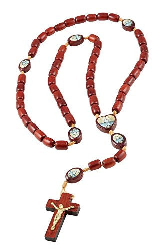 Mens Caridad Del Cobre Our Lady of Charity Cherry Wood Beaded Rosary Necklace