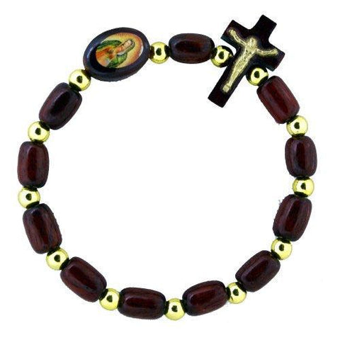 Decade Rosary Wooden Bracelet of Our Lady of Guadalupe - Made in Brazil. Pack of 6 units
