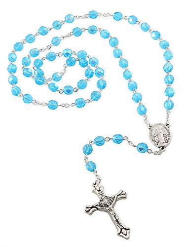 Our Lady of Grace Medal Rosary with 6mm Light Blue Glass Crystal Beads and Crucifix, 17 Inch