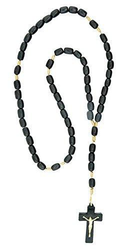 Black Wood Rosary Necklace with Beige Cord