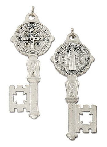 St Benedict Oxidized Metal Key of Heaven for Home Protection Door House Blessing