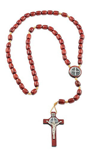 Mens St Benedict Crucifix Rosary with Cherry Wooden Beads - Made in Brazil - 20.5 Inch