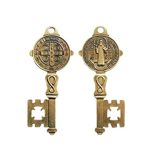 St Benedict Metal Key of Heaven Home Protection Door House Blessing Antique Gold Tone