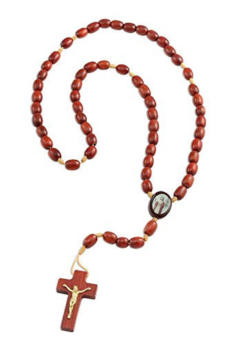 Saint St. Barbara Wooden Beads Rosary with Jesus Cross/Crucifix, Made in Brazil, 17 Inch