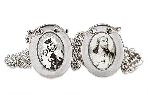 Stainless Steel Catholic Scapular with Medals of Sacred Heart of Jesus and Our Lady of Mt. Carmel - Black and White Oval Pendant