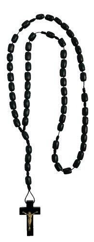 Mens Black Wood Rosary Style Necklace, Made in Brazil, 19 Inch