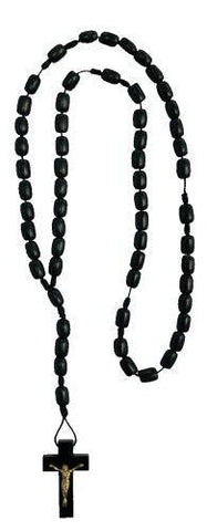 Black Wood Rosary Necklace with Black Cord