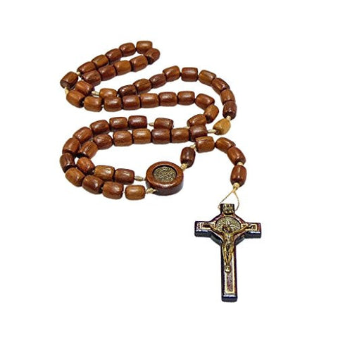 "Mens Saint St Benedict Jatoba Wood Rosary Beads with 2.5"" Cross Crucifix - 19 Inch"
