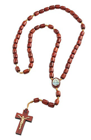 Caridad Del Cobre Wooden Beads Rosary Necklace with Jesus Cross/Crucifix, Made in Brazil, 17 Inch