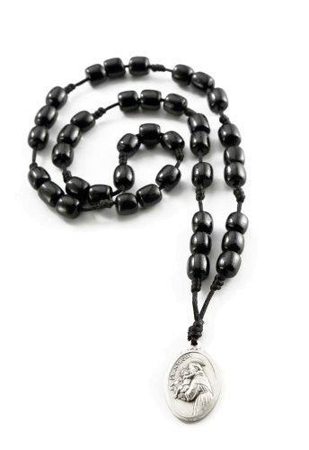 Saint Anthony Rosary Chaplet with Black Wood Beads and Medal