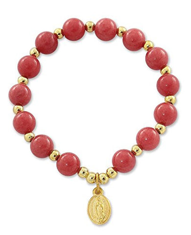 Our Lady of Guadalupe Medal Catholic Bracelet with Quartzite Dyed Coral Red Beads, 2 Inch