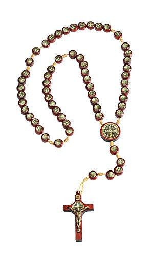 Pack of 3 pcs. Mens Womens Saint St Benedict Icon Medal Cord Rosary Crucifix, Made in Brazil, 15 Inch.