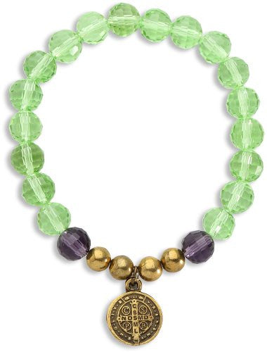 San Benito Antique Gold Tone Medal Bracelet with Green & Amethyst Colors Glass Crystal Beads