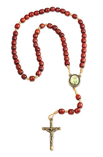 St. Joseph Cherry Wood Beads Thread Catholic Rosary Necklace, Made in Brazil