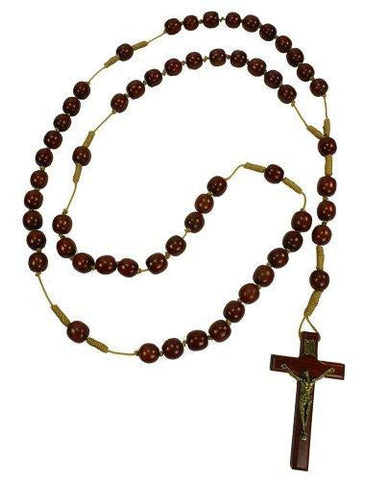 "36"" Wall Wooden Rosary - 15 mm Solid Cherry Wood Beads with 3.5 "" Cross"