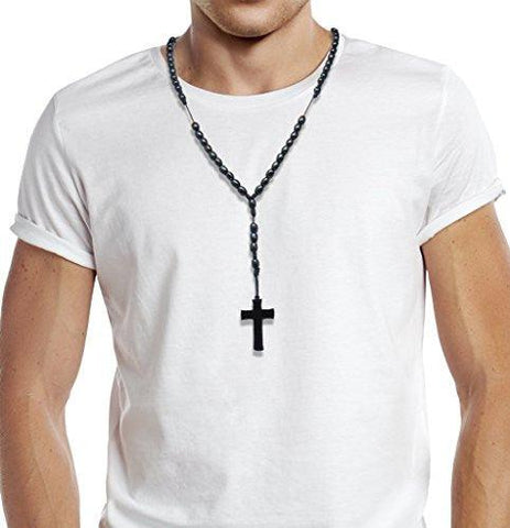 Black Wood Rosary Beads Necklace With Cross Crucifix, 10mm Beads 20 Inch