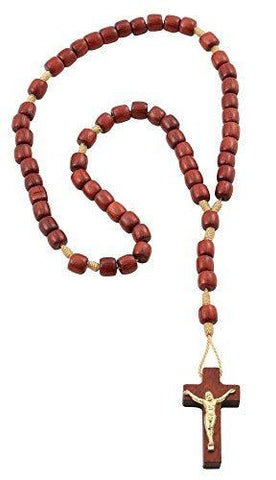 Cherry Wood Catholic Rosary Beads with Crucifix for Prayer