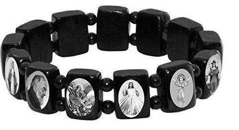 Elasticated Black Wood Bracelet with Small Square Black & White Assorted Catholic Saints with Black Beads Spacer