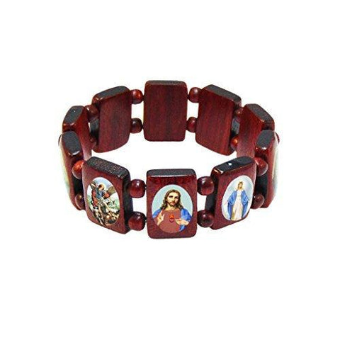Pack of 3 pcs. Elasticated Wooden Catholic Saints Bracelet Images of Jesus, Mary and Saints 2.5 Inches.