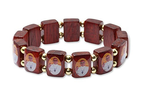 Pope Francis Wood Bracelet with Images of Pope Fracis, Made in Brazil, Lot of 3