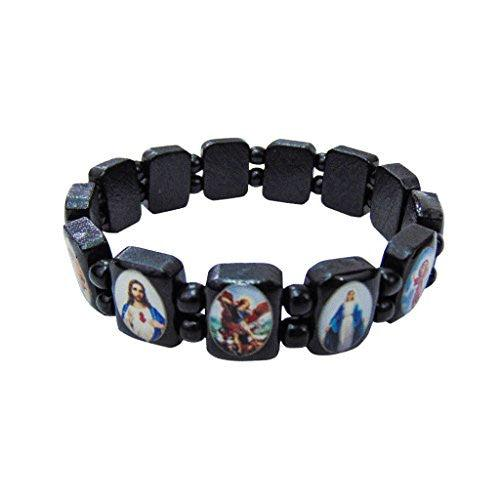 Catholic Saints Icon Black Wooden Beads Men's Bracelet, Stretchable, Made in Brazil