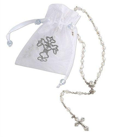 Catholic Womens Girls First Holy Communion Rosary with AB Glass Crystal Beads 20 Inch
