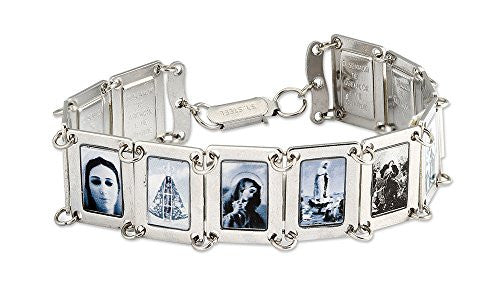 Stainless Steel Black & White Assorted Saints Images Religious Bracelet, 7.7 Inch