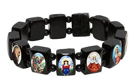 Elasticated Black Wood Bracelet with Small Square Assorted Catholic Saints Images. Pack of 12 units