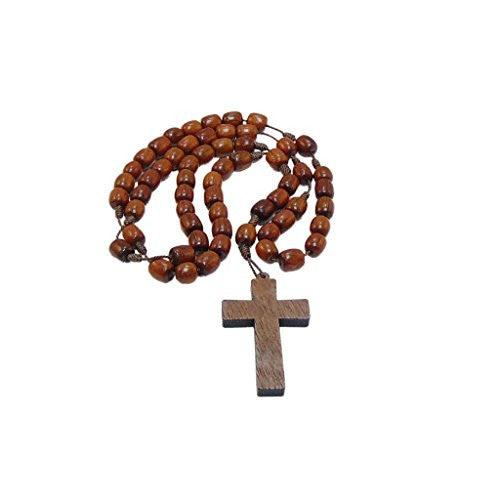 Jatoba Wood Rosary Beads Necklace With Cross 19 in.