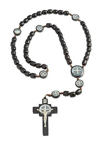 "Mens Saint St Benedict Black Wood Beaded Rosary with 7 Images of St Benedict and 2.5"" Cross - 19 Inch"