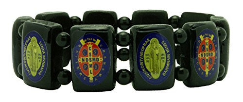 Saint St Benedict Large Wood Blocks Elasticated Bracelet, Black